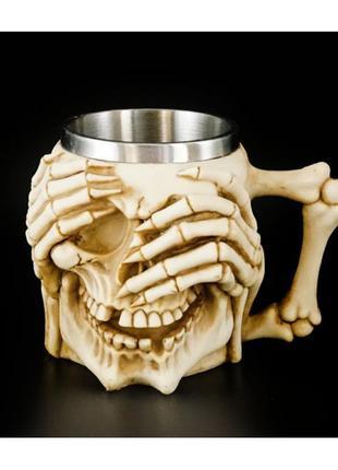 Чашка кружка из полистоуна и стали череп ничего не вижу и паутина +подарок