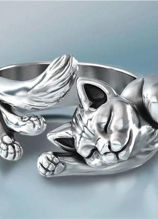Каблучка, кольцо котик , кольцо обнимающий котик
