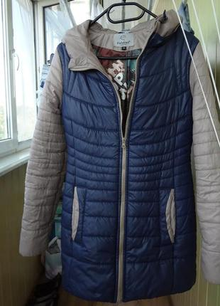 Куртка болоньевая удлинённая синяя ( демисезон)  44-46р.