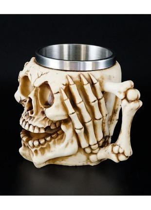 Кружка чашка из полистоуна и стали череп-паутина ничего не слышу+подарок
