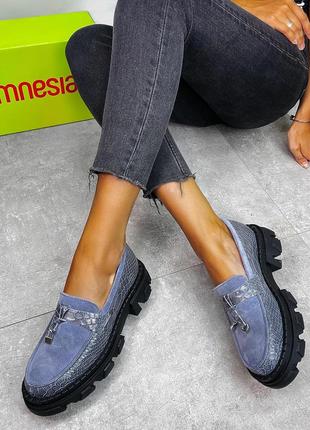 Туфли лоферы  замшевые кожаные на платформе1 фото