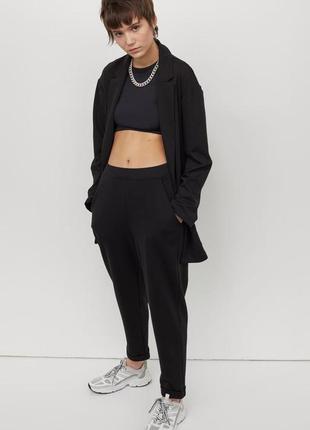 Трикотажные брюки черные, укороченные брюки с высокой талией из тяжелого трикотажа .