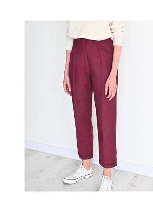 Бордовые брюки h&m со стрелками и с высокой талией. женские штаны hm на талии. жіночі укороченные