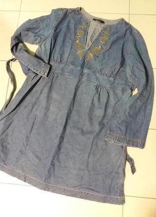 Джинсовое платье/туника с вышивкой большого 20 размера1 фото