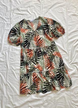 Платье мини цветочное с рукавами фонарь оранжево-зелёное1 фото