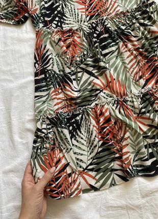 Платье мини цветочное с рукавами фонарь оранжево-зелёное3 фото