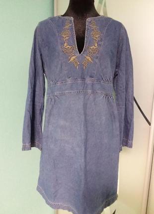 Джинсовое платье/туника с вышивкой большого 20 размера2 фото