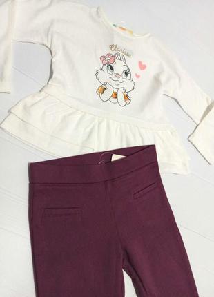 Реглан зайчик з баскою disney+ лосіни lupilu для маленької модниці 86-92 см комплект-ціна до 17.09