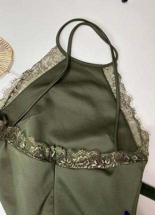 Хаки миди платье с открытой спиной2 фото