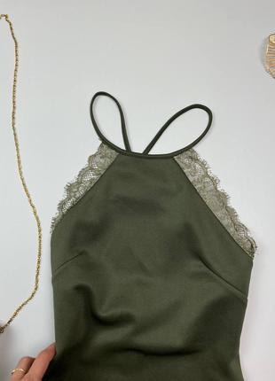 Хаки миди платье с открытой спиной5 фото