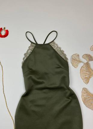 Хаки миди платье с открытой спиной3 фото