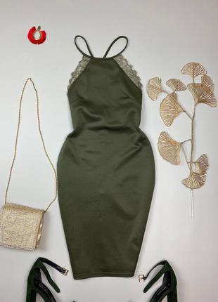 Хаки миди платье с открытой спиной1 фото