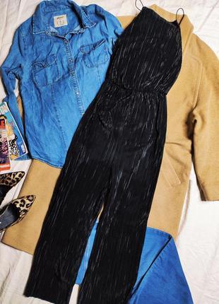 Boohoo комбинезон комбез ромпер черный плиссе плиссерованный новый с кюлотами брюки новый