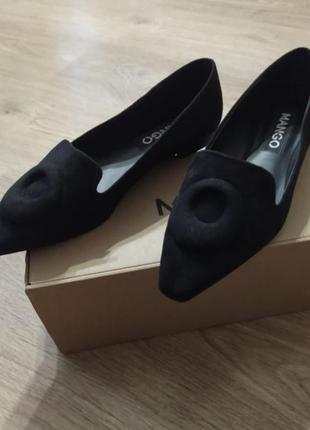 Туфли балетки mango чёрные1 фото