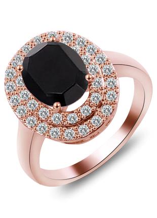 Кольцо для особо случая черный камень под розовое золото 18 размер / большая распродажа!