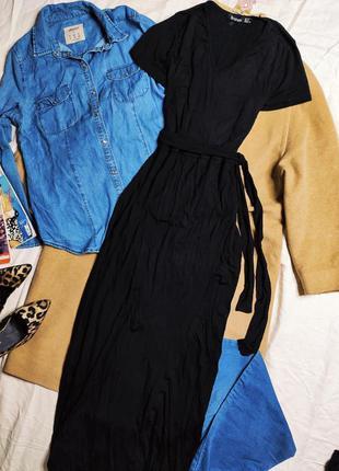 Boohoo платье длинное макси в пол чёрное с поясом с вырезом трикотаж новое