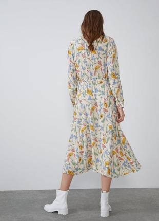 Платье рубашка на пуговицах с поясом платье zara2 фото