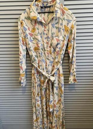 Платье рубашка на пуговицах с поясом платье zara4 фото