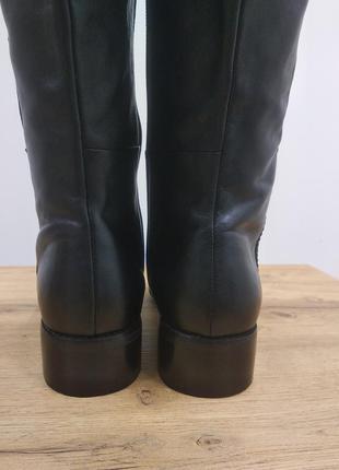 Laura conte чорні класичні шкіряні деміжсезонні високі чоботи черевики ботфорти на низькому ходу розмір 39.5 /40 /40.54 фото