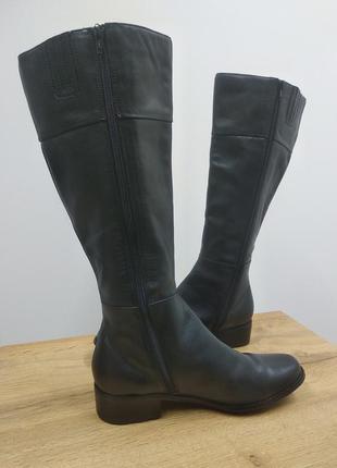 Laura conte чорні класичні шкіряні деміжсезонні високі чоботи черевики ботфорти на низькому ходу розмір 39.5 /40 /40.55 фото