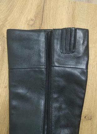 Laura conte чорні класичні шкіряні деміжсезонні високі чоботи черевики ботфорти на низькому ходу розмір 39.5 /40 /40.58 фото