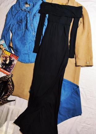 Missguided платье чёрное трикотажное открыты плечи с вырезом на ноге новое длинное макси