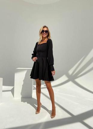 Прекрасное чёрное платье с пуговичками3 фото