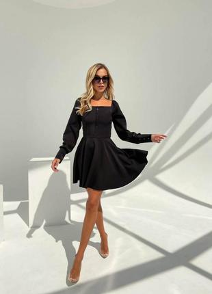 Прекрасное чёрное платье с пуговичками4 фото