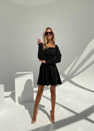 Прекрасное чёрное платье с пуговичками2 фото