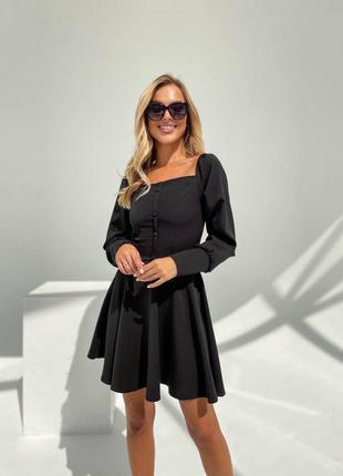 Прекрасное чёрное платье с пуговичками6 фото