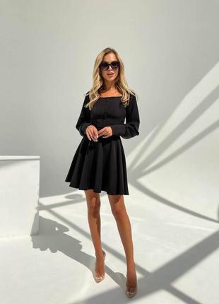 Прекрасное чёрное платье с пуговичками7 фото