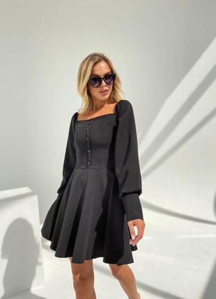 Прекрасное чёрное платье с пуговичками5 фото