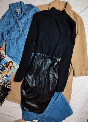 Pretty little thing платье чёрное водолазка юбка из эко кожи с длинным рукавом по фигуре новое6 фото