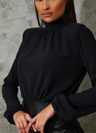 Pretty little thing платье чёрное водолазка юбка из эко кожи с длинным рукавом по фигуре новое4 фото