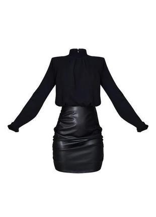 Pretty little thing платье чёрное водолазка юбка из эко кожи с длинным рукавом по фигуре новое5 фото