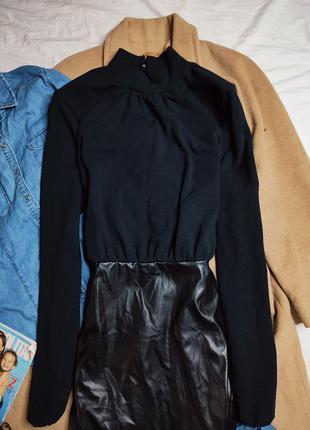 Pretty little thing платье чёрное водолазка юбка из эко кожи с длинным рукавом по фигуре новое7 фото
