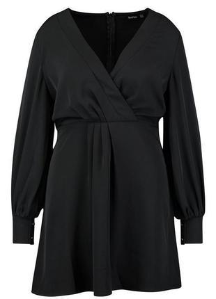 Boohoo платье чёрное миди большое батальное батал с длинным рукавом свободное2 фото