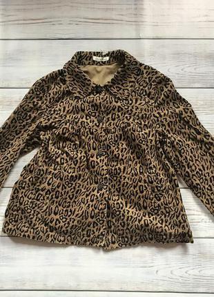 Вельветовый пиджак легкая куртка в леопардовый животный принт