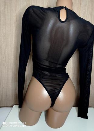 Шикарный боди в сетку с вышивкой4 фото