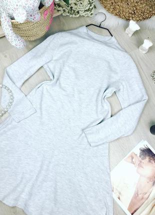 Светло серое платье в мелкий рубчик а силуэта1 фото