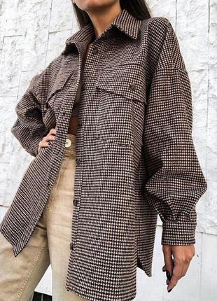 Тёплая рубашка в клетку с поясом кашемир