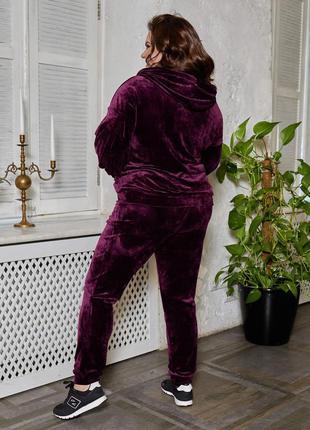 Велюровый костюм батал штаны кофта набор прогулочный большие размеры пышная красота спортивный костю3 фото
