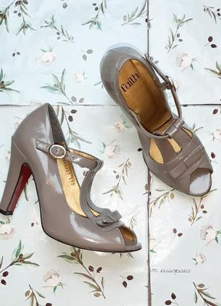 🌿1+1=3 стильные серые женские туфли на каблуке faith connexion в стиле 80-х, размер 381 фото