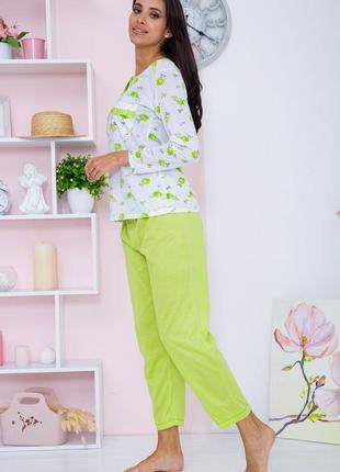 Женская пижама салатовая с белым пижама домашний костюм ночнушка большого размера батал полубатал3 фото