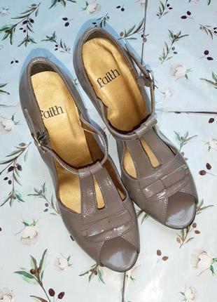 🌿1+1=3 стильные серые женские туфли на каблуке faith connexion в стиле 80-х, размер 385 фото