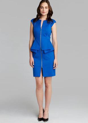 Ted baker платье голубое синее миди классическое по фигуре карандаш футляр с баской1 фото