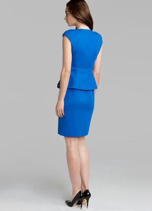 Ted baker платье голубое синее миди классическое по фигуре карандаш футляр с баской2 фото