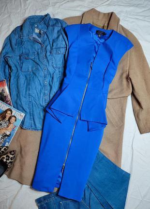 Ted baker платье голубое синее миди классическое по фигуре карандаш футляр с баской4 фото