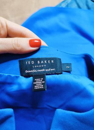 Ted baker платье голубое синее миди классическое по фигуре карандаш футляр с баской5 фото