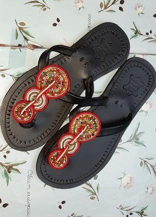🎁1+1=3 фирменные кожаные черные тапочки вьетнамки натуральная кожа вышиванка, размер 38